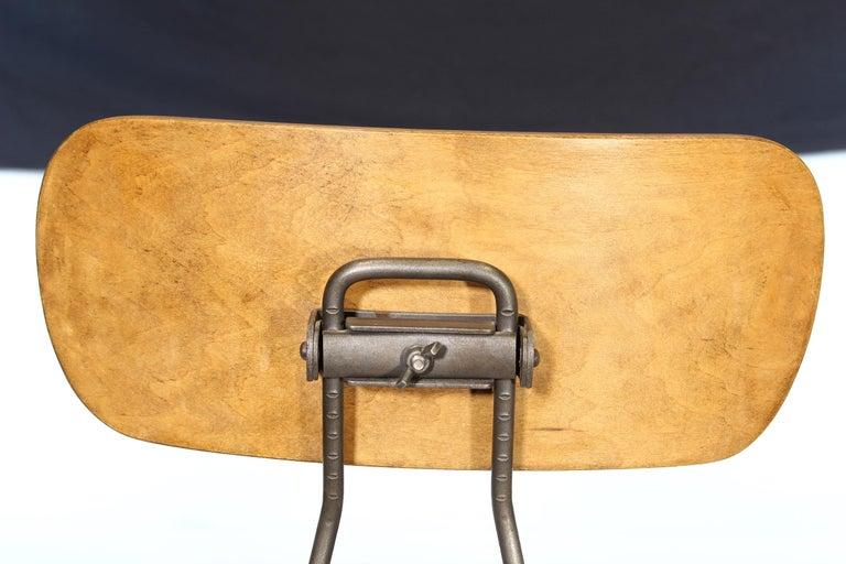 Metal Pair of Vintage Toledo Bent Plywood Adjustable Stools For Sale
