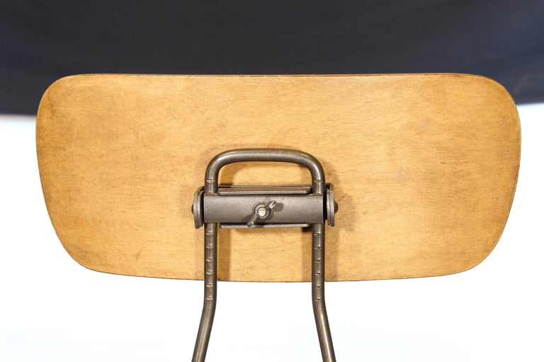 Pair of Vintage Toledo Bent Plywood Adjustable Stools For Sale 1