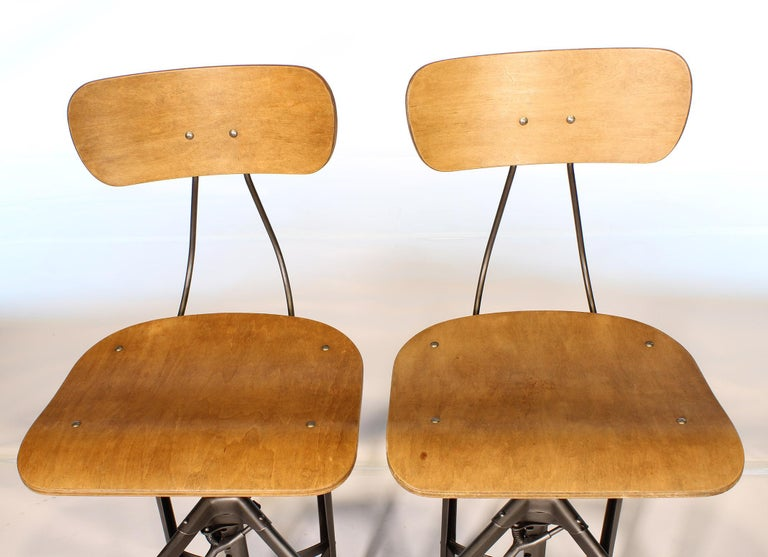 Pair of Vintage Toledo Bent Plywood Adjustable Stools For Sale 2