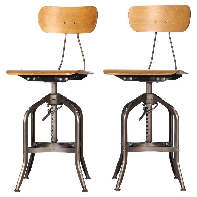 Pair of Vintage Toledo Bent Plywood Adjustable Stools For Sale