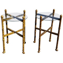 Pair of Vintage Tortoise Shell Lacquer Occasional Tables