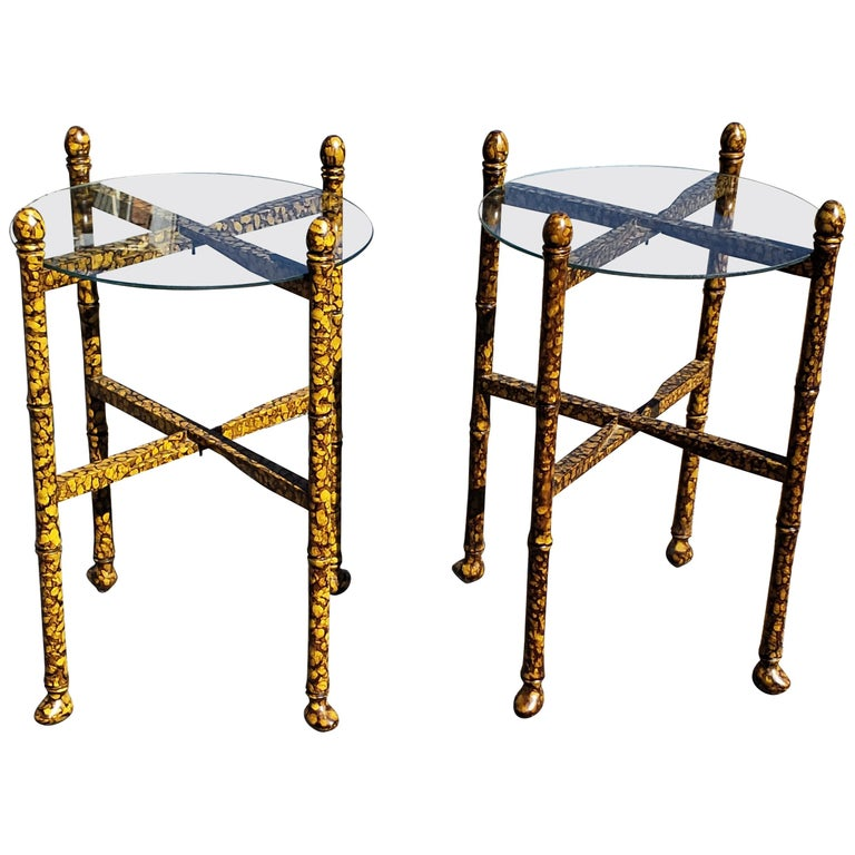 Pair of Vintage Tortoise Shell Lacquer Occasional Tables For Sale
