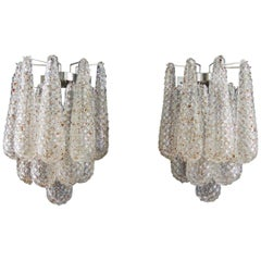 Pair of Vintage Transparent and Caramel Glass Wall Sconce by Mazzega