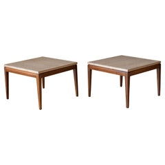Pair of Vintage Travertine and Walnut End Tables