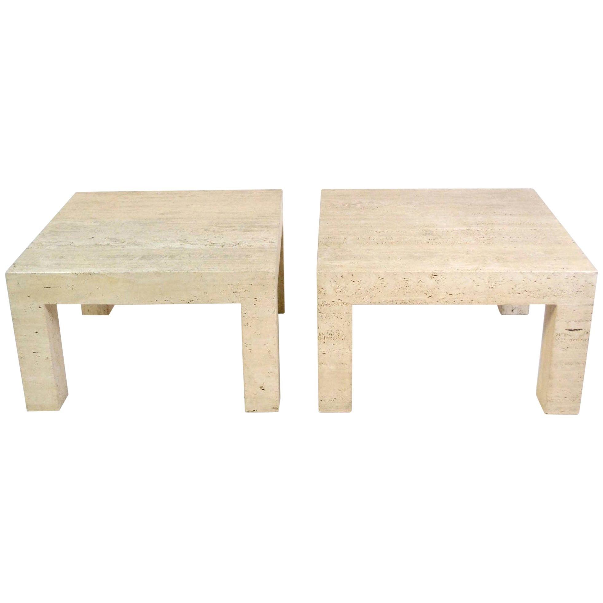 Pair of Vintage Travertine Parsons Tables