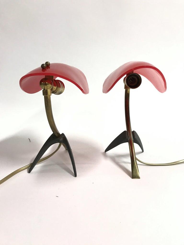 Brass Pair of Vintage Tripod Stilnovo Lamps, 1950s For Sale