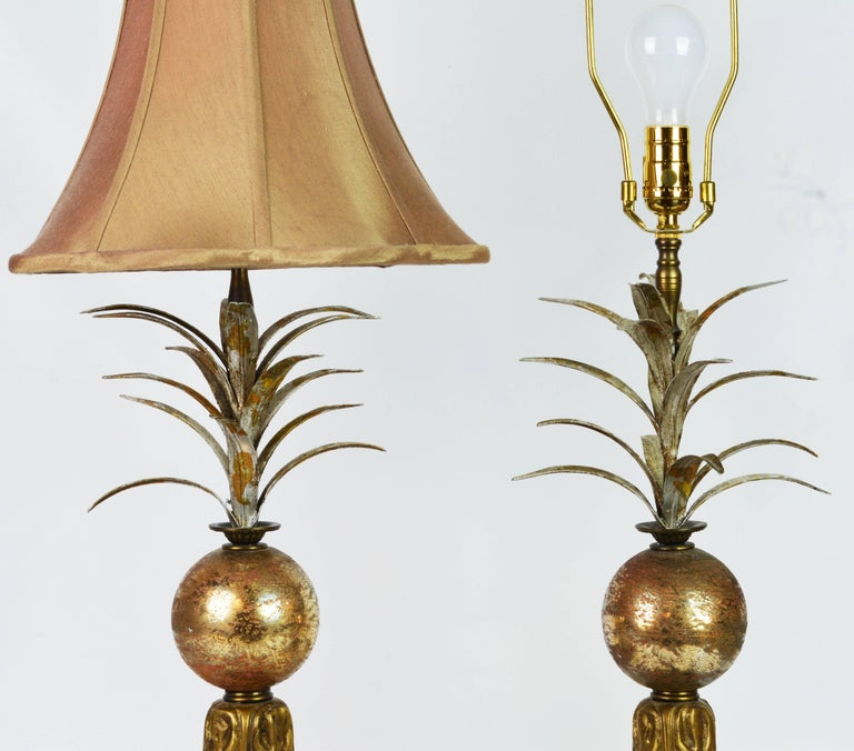 Pair Of Vintage Tropical Themed Distressed Gilt Table Lamps By John