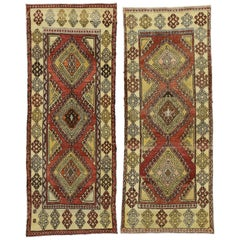 Pair of Vintage Turkish Oushak Runners, Matching Tribal Style Hallway Runners