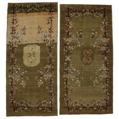 Pair of Vintage Turkish Oushak Runners with French Chalet Style