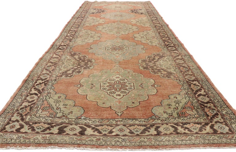 Pair of Vintage Turkish Oushak Gallery Rugs, Matching Wide Hallway Runners For Sale 6