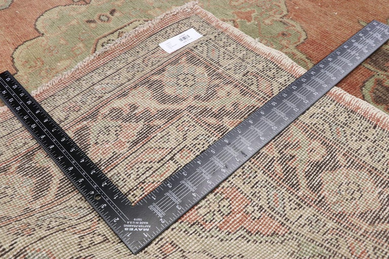 Pair of Vintage Turkish Oushak Gallery Rugs, Matching Wide Hallway Runners For Sale 8