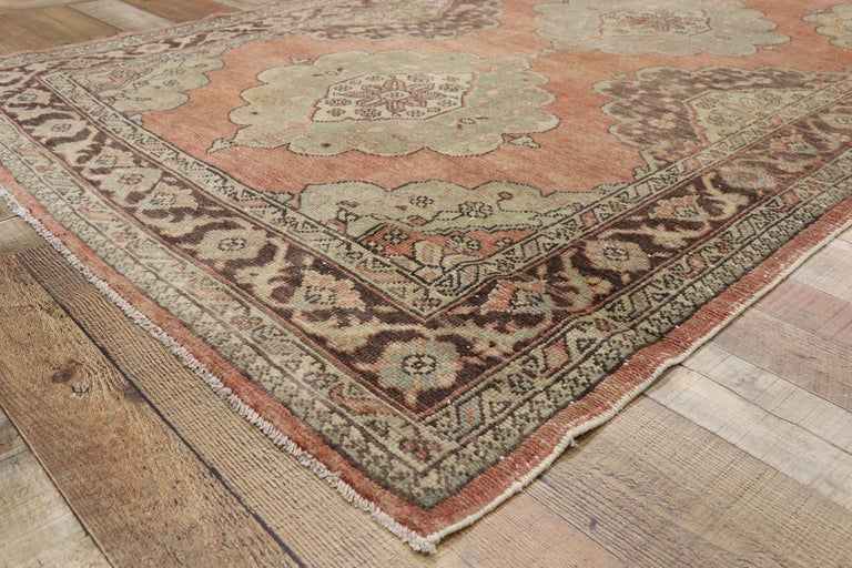 Pair of Vintage Turkish Oushak Gallery Rugs, Matching Wide Hallway Runners For Sale 9