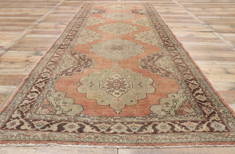 Pair of Vintage Turkish Oushak Gallery Rugs, Matching Wide Hallway Runners For Sale 10