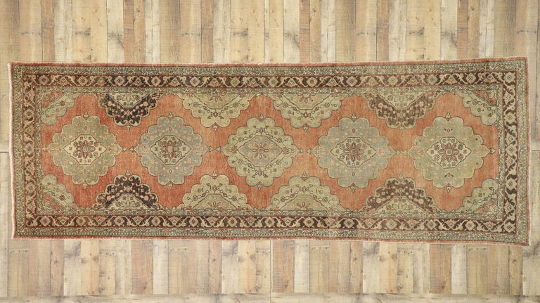 Pair of Vintage Turkish Oushak Gallery Rugs, Matching Wide Hallway Runners For Sale 11