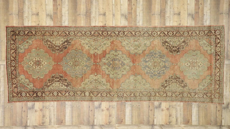 Pair of Vintage Turkish Oushak Gallery Rugs, Matching Wide Hallway Runners For Sale 3