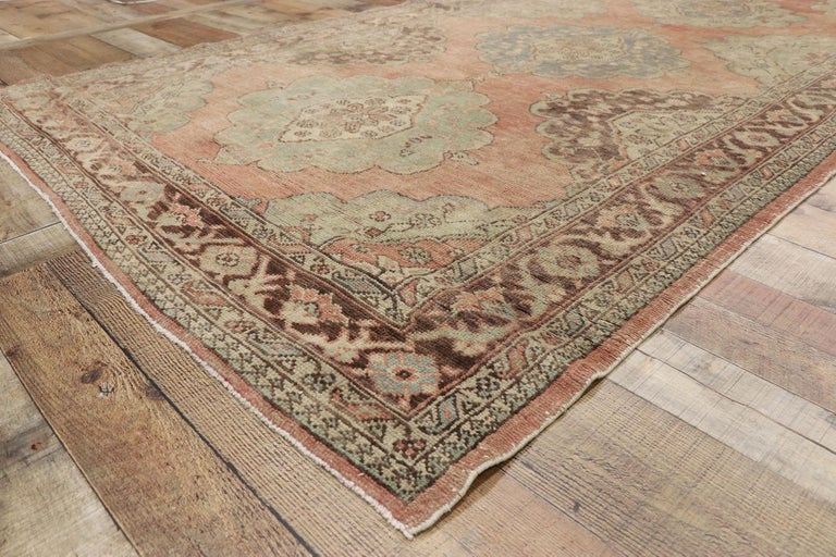 Pair of Vintage Turkish Oushak Gallery Rugs, Matching Wide Hallway Runners For Sale 1