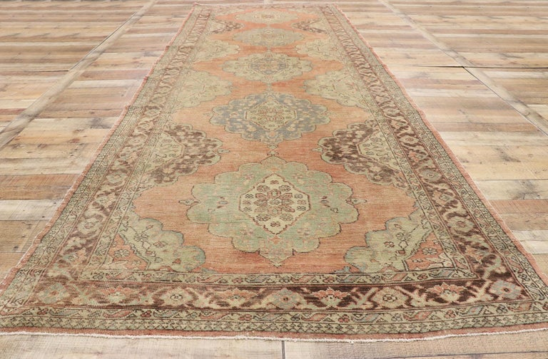 Pair of Vintage Turkish Oushak Gallery Rugs, Matching Wide Hallway Runners For Sale 2