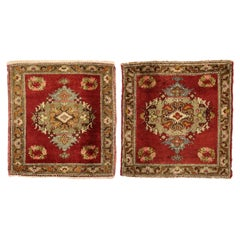 Pair of Vintage Turkish Oushak Yastik Scatter Rugs, Matching Small Accent Rugs