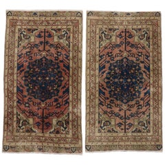 Pair of Vintage Turkish Sivas Rugs with Rustic English Traditional Style