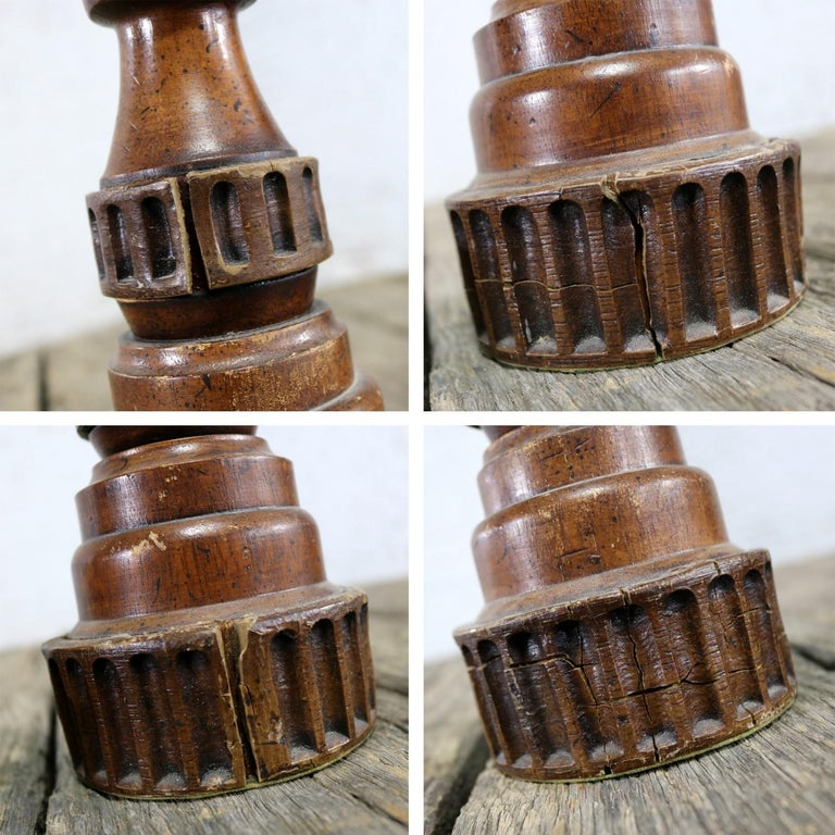 Pair of Vintage Turned Wood and Composite Candleholders For Sale 5
