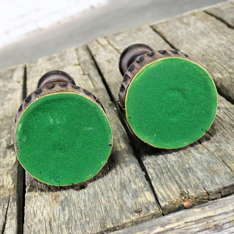 Pair of Vintage Turned Wood and Composite Candleholders For Sale 7