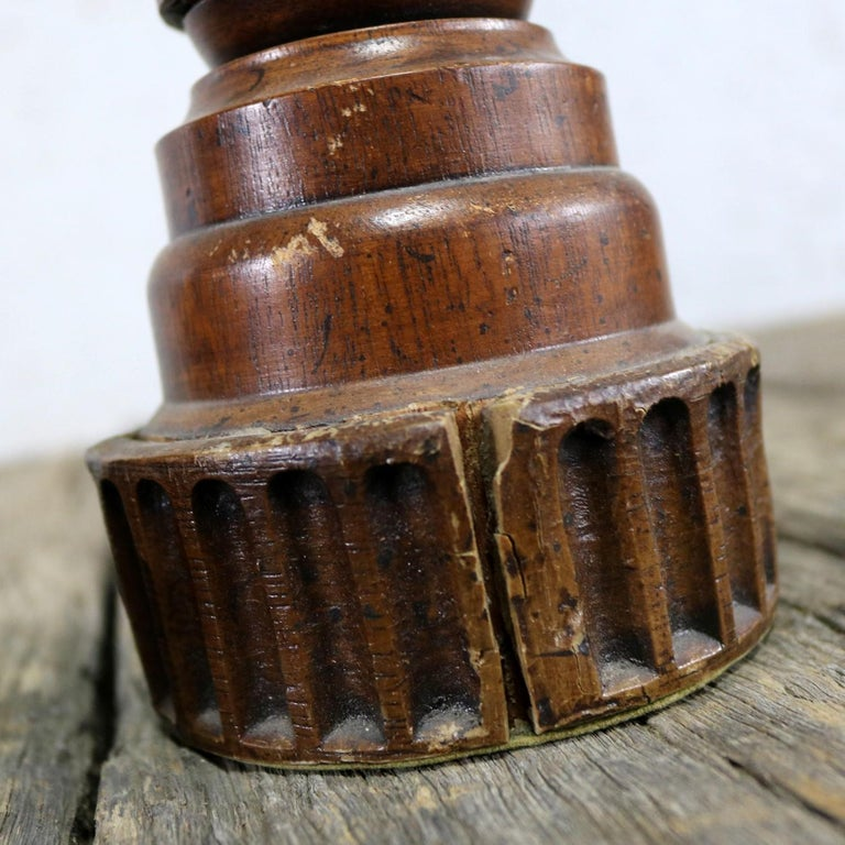 Pair of Vintage Turned Wood and Composite Candleholders For Sale 10