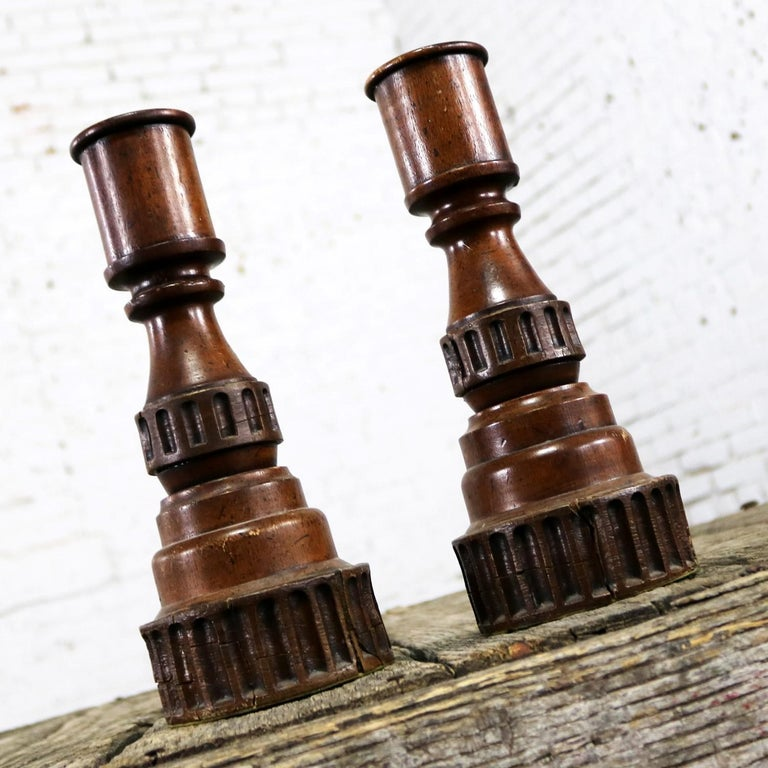 Pair of Vintage Turned Wood and Composite Candleholders In Distressed Condition For Sale In Topeka, KS