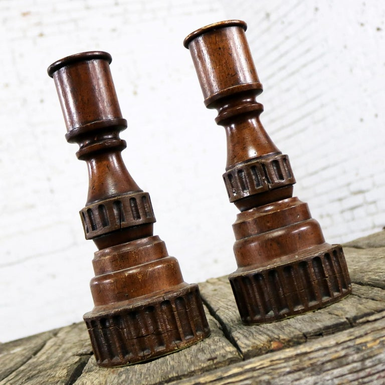 Pair of Vintage Turned Wood and Composite Candleholders For Sale 2
