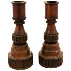 Pair of Vintage Turned Wood and Composite Candleholders