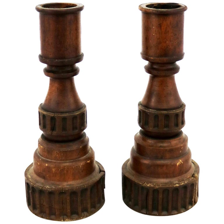 Pair of Vintage Turned Wood and Composite Candleholders For Sale