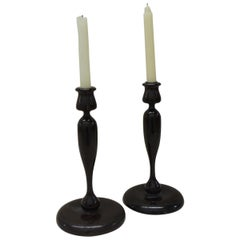 Pair of Vintage Turned Wood Candleholders
