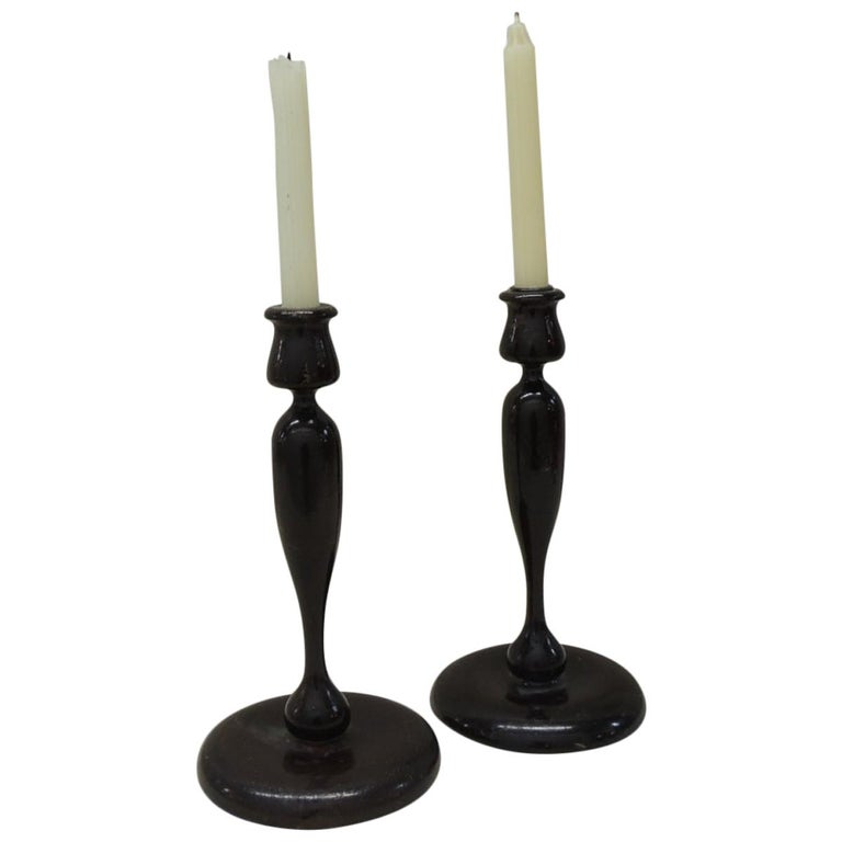 Pair of Vintage Turned Wood Candleholders For Sale