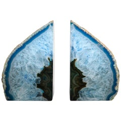 Pair of Vintage Turquoise Blue and White Agate Geode Bookends