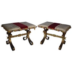 Pair of Vintage Upholstered Benches/Stools, French, Gilded