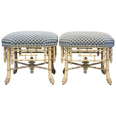 Pair of Vintage Upholstered Faux Bamboo Painted Benches Aesthetic Movement Style