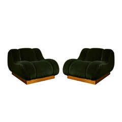 Pair of Vintage Velvet Armchairs