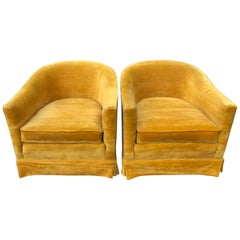 Pair of Vintage Velvet Club Chairs in Mustard