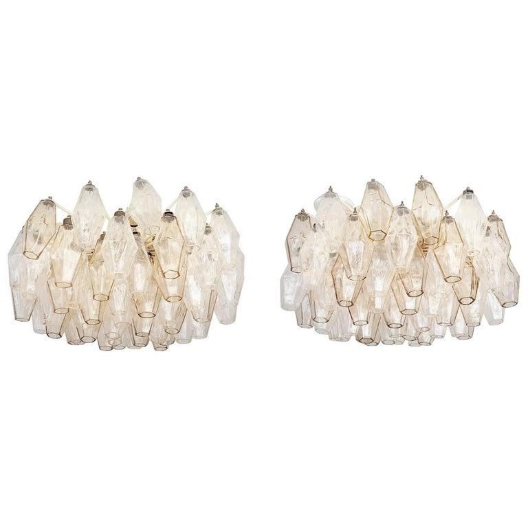 Pair of Vintage Venini Glass Chandeliers For Sale