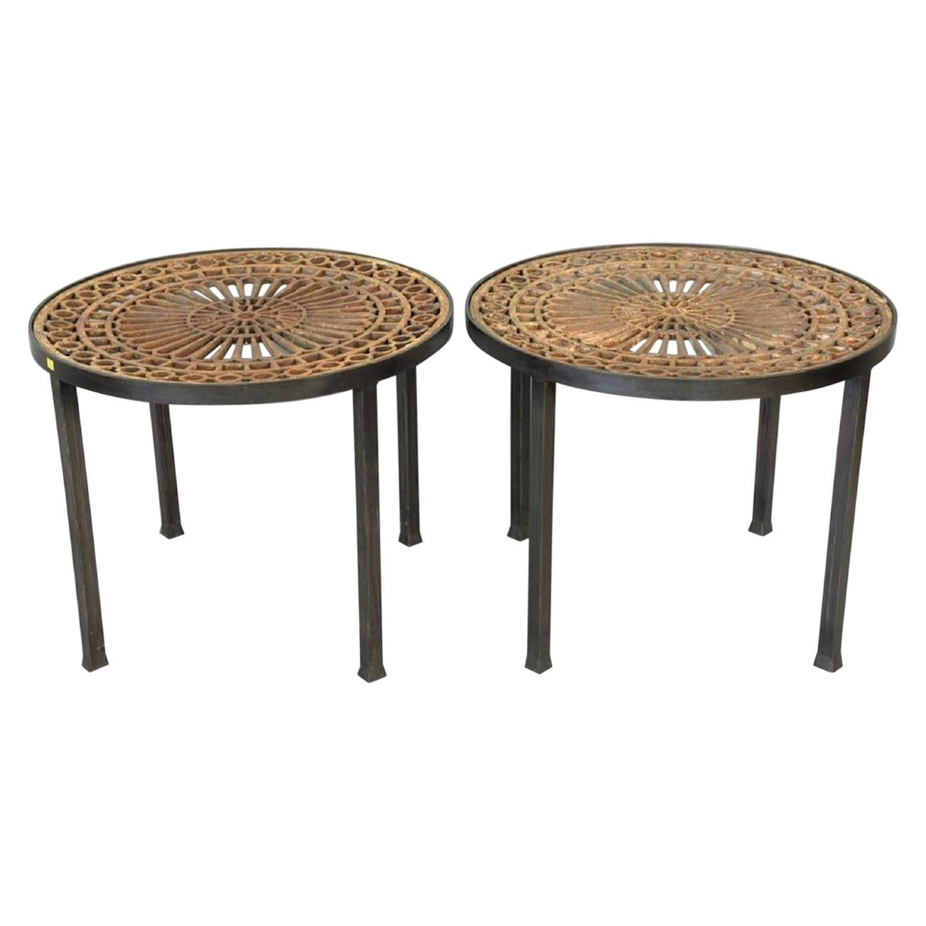 Pair of Vintage Victorian Tables with Cast Iron Tops