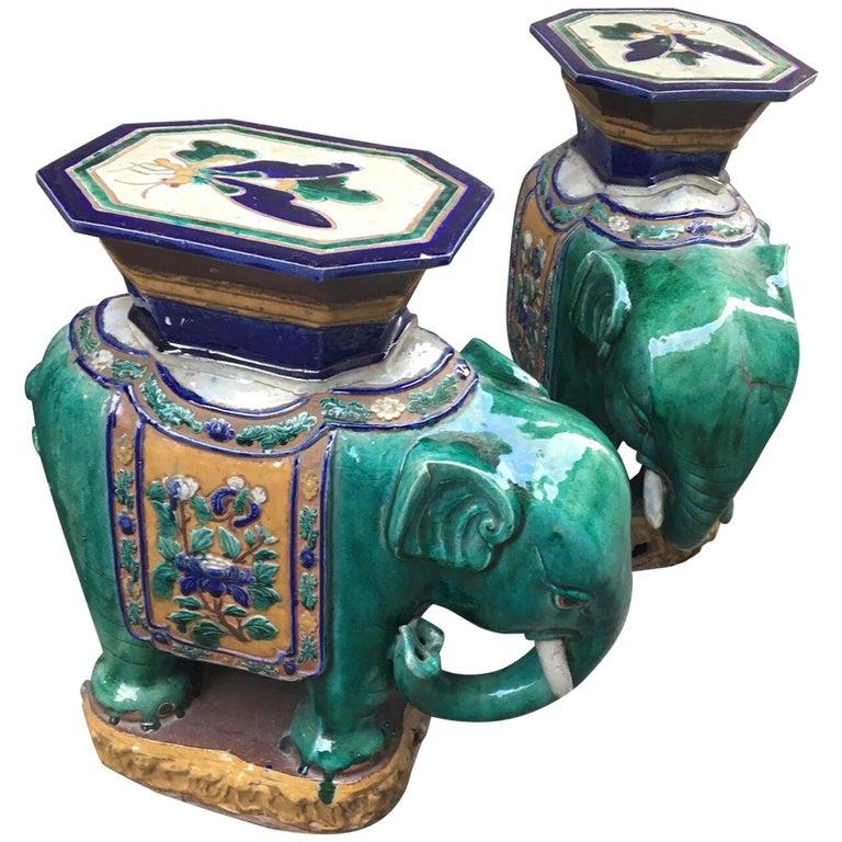 Pair Of Vintage Vietnamese Ceramic Elephant Tables Plant
