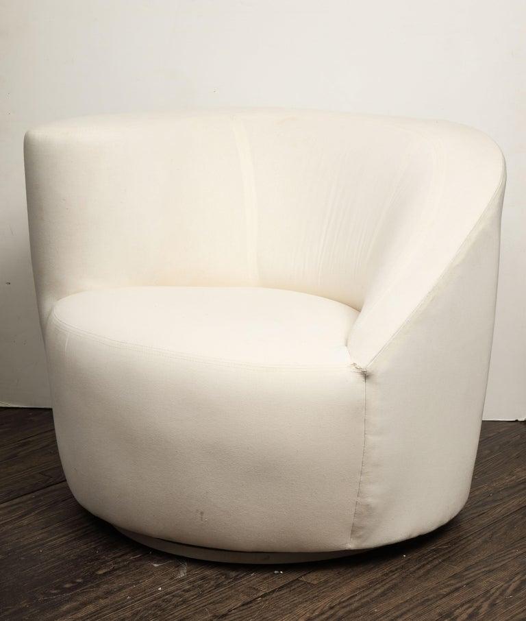 Pair of Vintage Vladimir Kagan Nautilus Swivel Chairs in Muslin 4