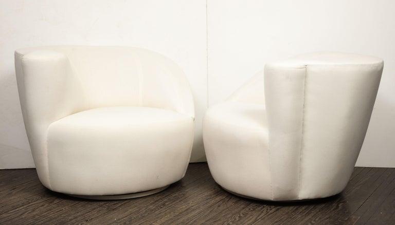 North American Pair of Vintage Vladimir Kagan Nautilus Swivel Chairs in Muslin