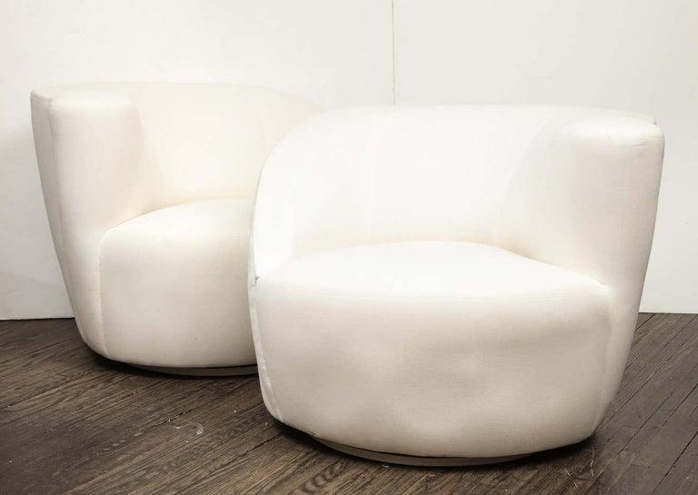 20th Century Pair of Vintage Vladimir Kagan Nautilus Swivel Chairs, Travis For Sale