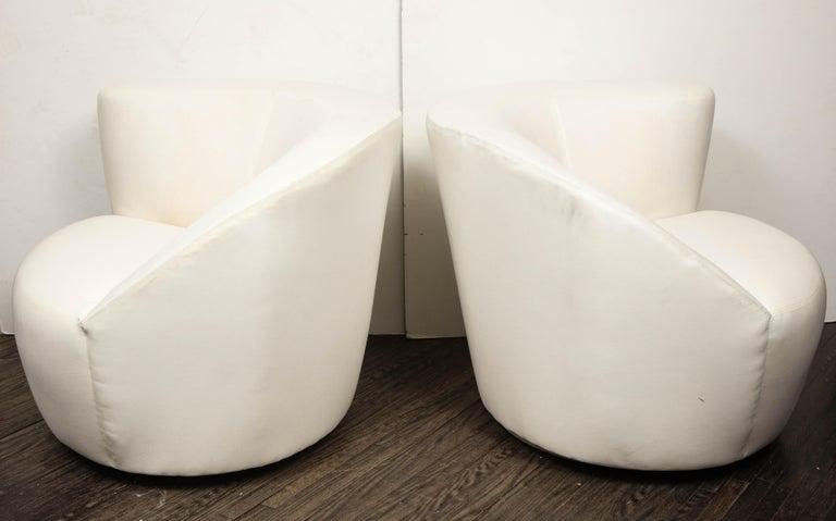 Pair of Vintage Vladimir Kagan Nautilus Swivel Chairs in Muslin 1