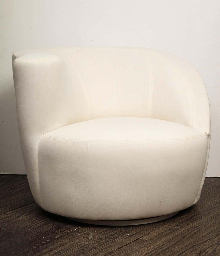 Muslin Pair of Vintage Vladimir Kagan Nautilus Swivel Chairs, Travis For Sale