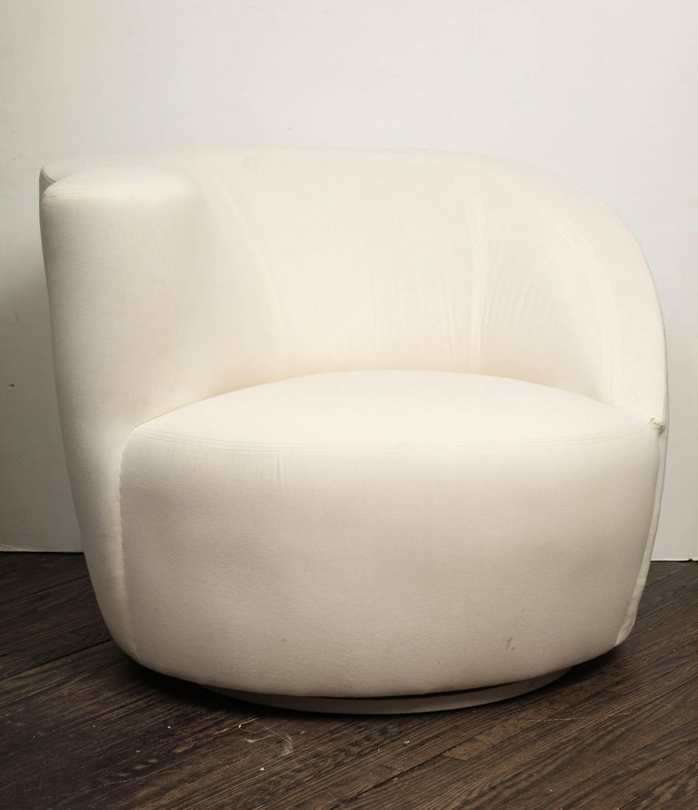 Pair of Vintage Vladimir Kagan Nautilus Swivel Chairs in Muslin 3