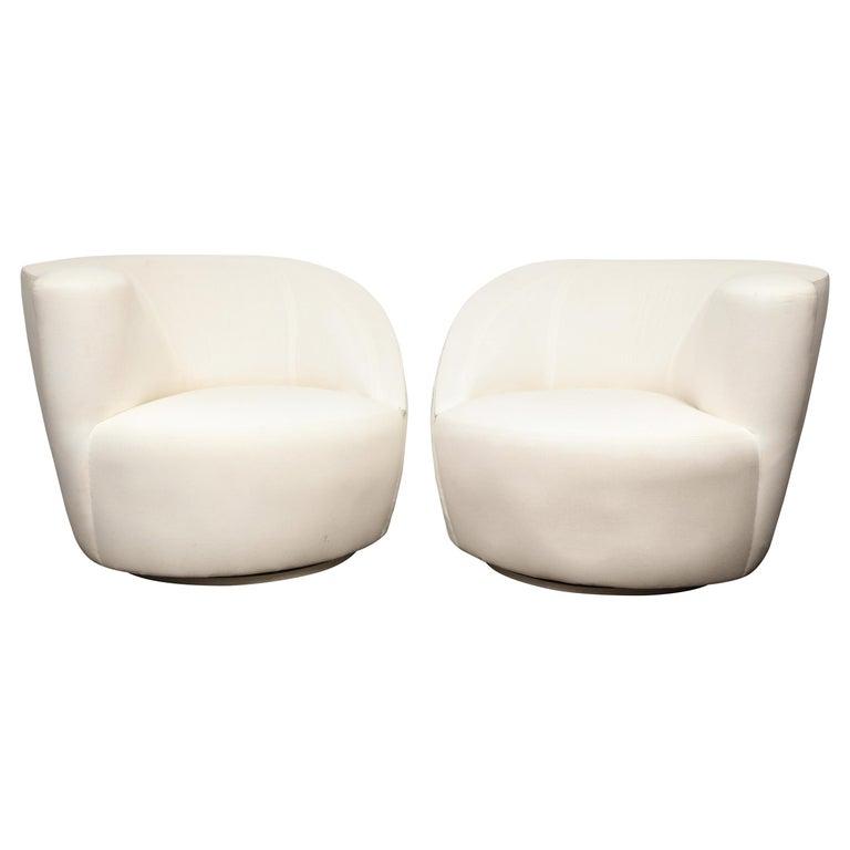 Pair of Vintage Vladimir Kagan Nautilus Swivel Chairs in Muslin