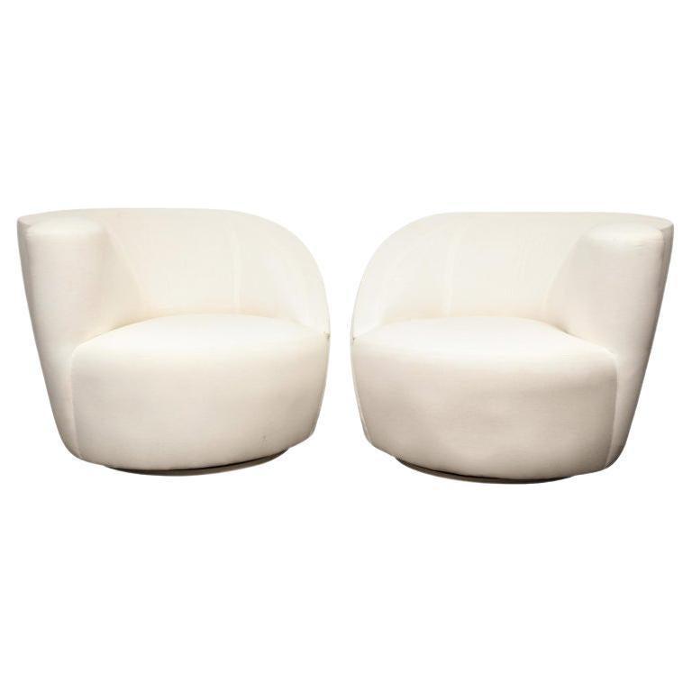 Pair of Vintage Vladimir Kagan Nautilus Swivel Chairs, Travis For Sale