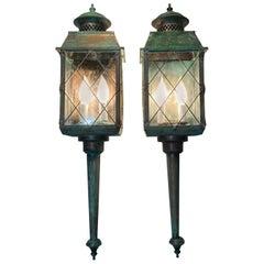 Pair of Vintage Wall Hanging Brass Lantern