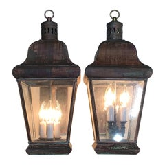 Pair of Vintage Wall Hanging Lantern